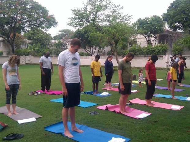 International Yoga Day: Yoga being performed at the USA embassy in Delhi