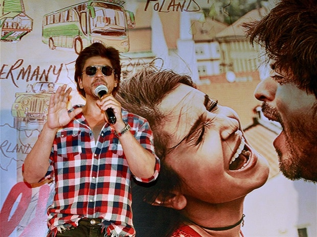 Bollywood actor Shahrukh Khan speaks during a promotional event for his forthcoming movie ''Jab Harry Met Sejal' in Ahmedabad on Wednesday. Photo: PTI