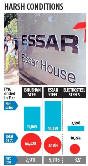 Bhushan Steel & Essar Steel consolidated data and Electrosteel Steels standalone data; Compiled by BS Research Bureau. Source: Capitaline