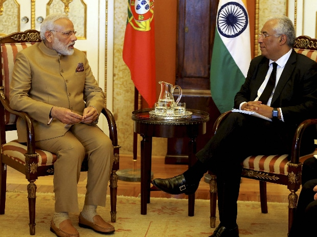 Lisbon : India's Prime Minister Narendra Modi, left and Portuguese Prime Minister Antonio Costa speak during a meeting at the Necessidades Palace, the Portuguese Foreign Ministry in Lisbon, Portugal. (Photo: PTI)