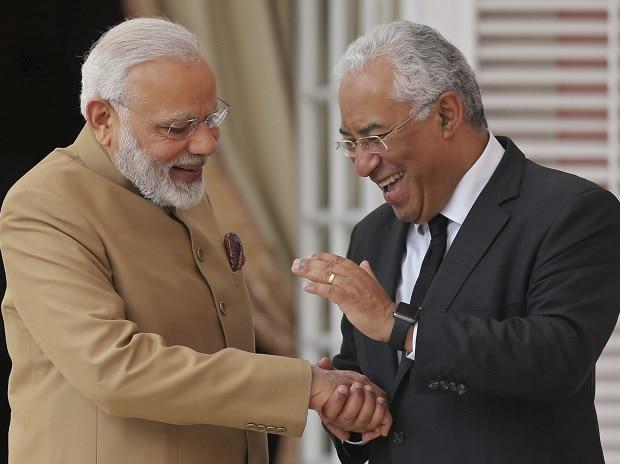 PM Narendra Modi with Portuguese PM Antonio Costa in Portugal