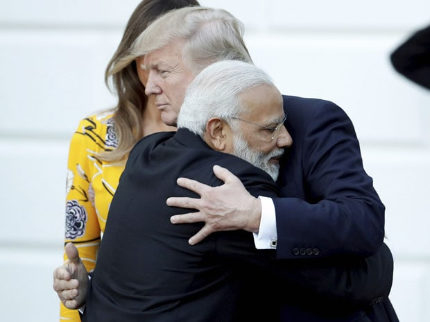 Prime Minister Narendra Modi meeting the US President Donald Trump, at the delegation level talks at White House, in Washington DC