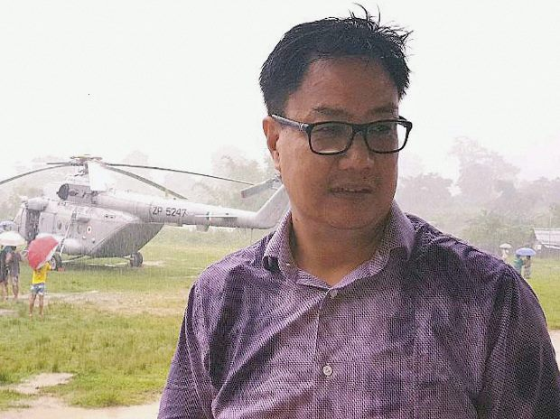 Itanagar: Union minister Kiren Rijiju had a miraculous escape as his chopper made an emergency landing in Itanagar on Tuesday due to bad weather