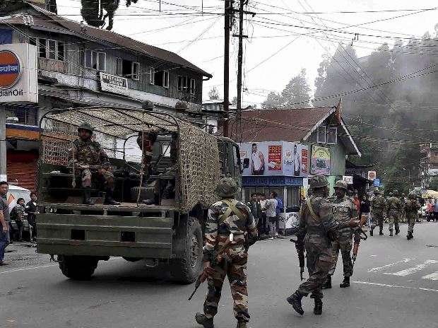 Security forces marching on the streets of Darjeeling. File Photo