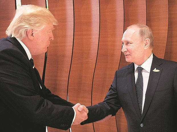 US President Donald Trump with Russian President Vladimir Putin during the bilateral meeting