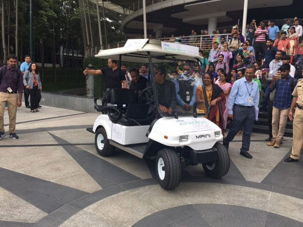 Vishal Sikka arrives at Infosys office in style - in a driverless cart