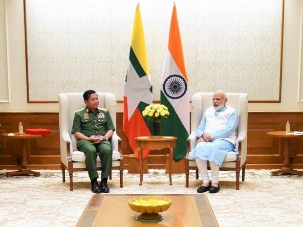 Narendra Modi, Sr Gen U Min Aung Hliang, India, Myanmar