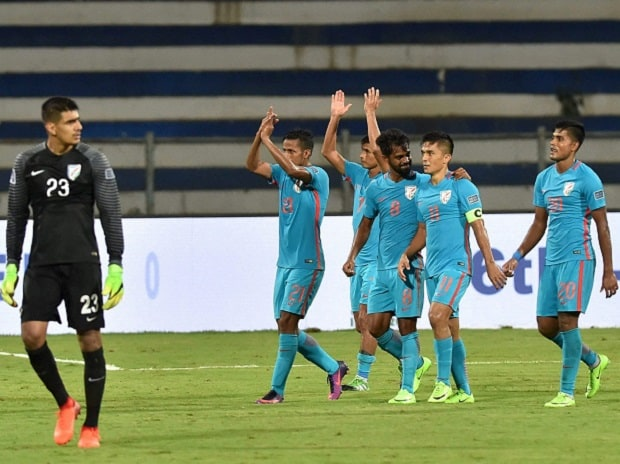 The Indian team after beating Kyrgyzstan 1-0 in an AFC Asia Cup qualifier in Bengaluru last month. Photo: PTI