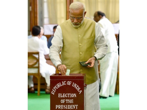 Prime Minister Narendra Modi casting his vote in the Presidential Election, in New Delhi on Monday. Photo: PTI