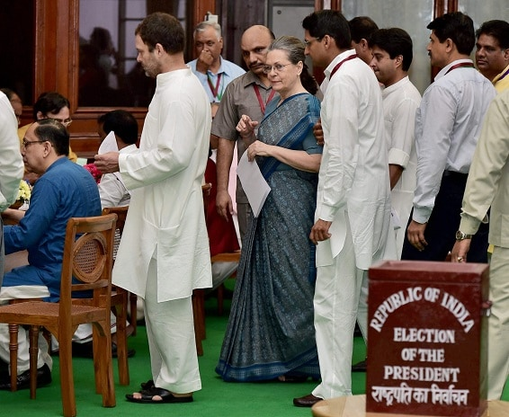 Congress president Sonia Gandhi with party VP Rahul Gandhi