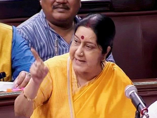 External Affairs Minister Sushma Swaraj speaks in the Rajya Sabha in New Delhi on Thursday.(Photo: PTI)