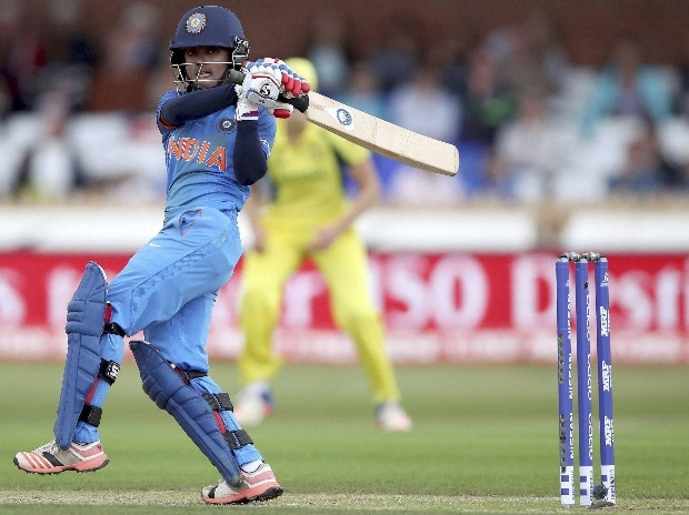 Harmanpreet Kaur, plays a shot during the ICC Women's World Cup semifinal cricket match against Australia at The County Ground, Derby in England. File photo: PTI