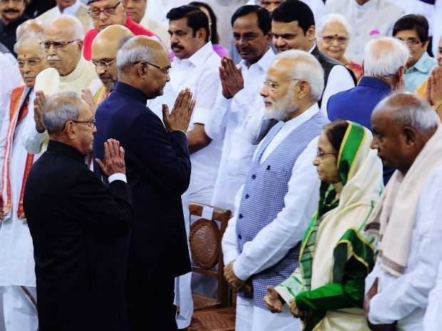 Narendra Modi at the Swearing-In Ceremony of President Ram Nath Kovind at central hall of Parliament