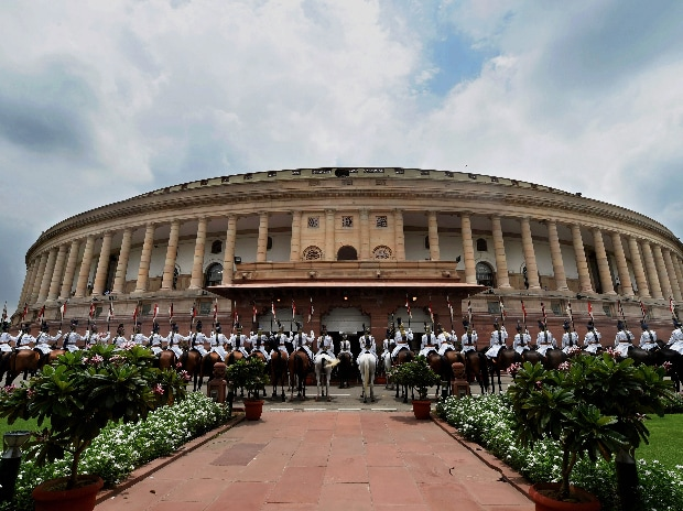 President's bodyguards at Parliament House ahead of the swearing-in ceremony of the 14th President of India, in New Delhi on Tuesday.(Photo: PTI)