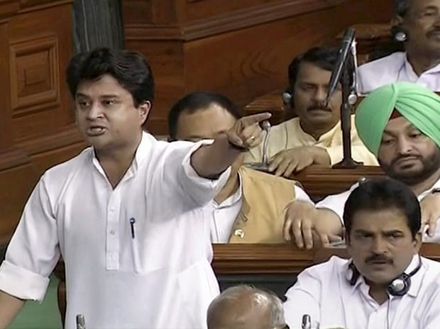 Congress leader Jyotiraditya Scindia speaks in the Lok Sabha during the ongoing monsoon session of Parliament in New Delhi on Tuesday.(Photo: PTI)