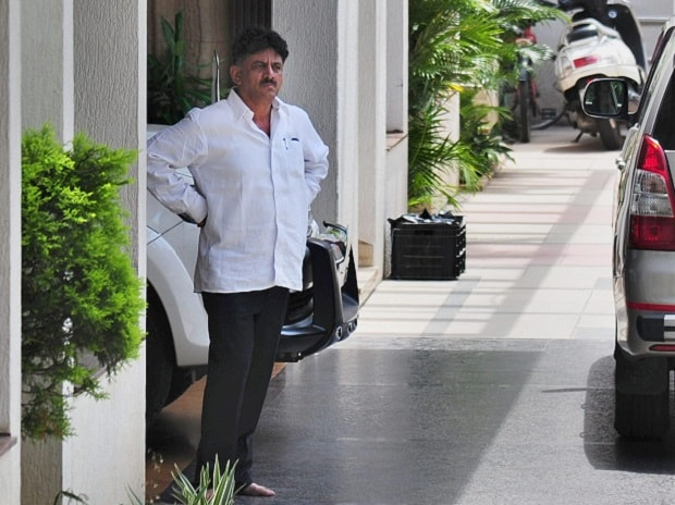 Karnataka Minister D K Shivakumar at his residence in Bengaluru on Wednesday. Photo: PTI