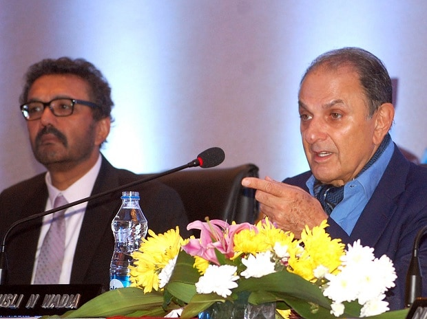 MD of Britannia Industries Limited Varun Berry (left) with Nusli Wadia, chairman, at the company's 98th annual general meeting in Kolkata. Photo: Subrata Majumder