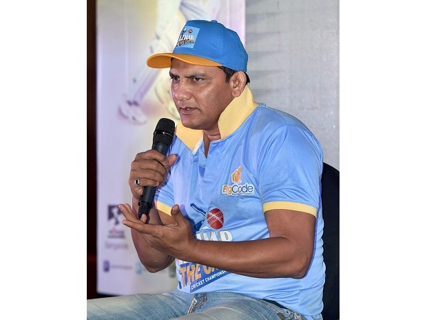 Indian cricket team captain Mohammed Azharuddin speaks during the pre-launch of