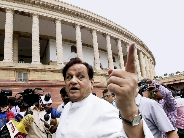 Congress leader Ahmed Patel arrives at the Parliament House in New Delhi. (Photo: PTI)
