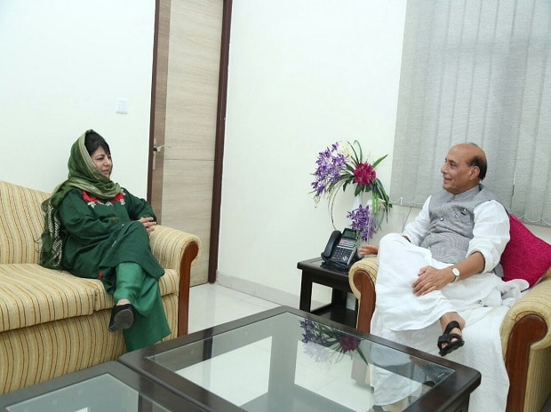 Mehbooba Mufti with Rajnath Singh