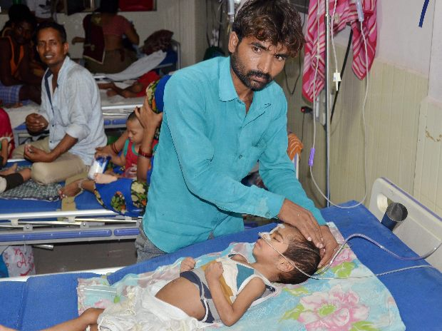 An inside view of a ward of BRD Hospital in Gorakhpur on Friday where at least 30 children died since the past two days, allegedly due to oxygen supply cut. Photo: PTI