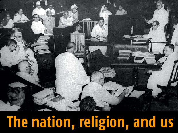 Architects In Action: (Left) A Constituent Assembly of India meeting in 1950. B R Ambedkar can be seen seated top-right