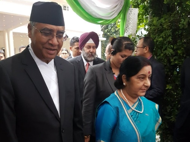 PM Deuba and SushmaSwaraj attend reception hosted at India House in Kathmandu to mark 70 Years of India's independence. Photo: Twitter