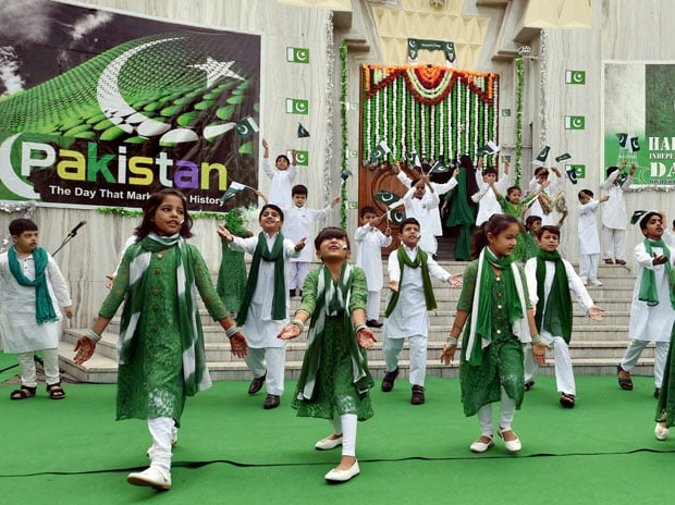 Children perfom during Pakistan's 70th Independence Day celebrations at Pakistan High Commission in New Delhi on Monday. Photo: PTI