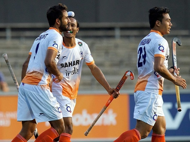 Indian players in action against the Netherlands. Photo: PTI