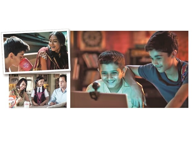 L to R:  Ads for Bournvita, Horlicks and Protinex target a wider age group, promise nutrition and wellness
