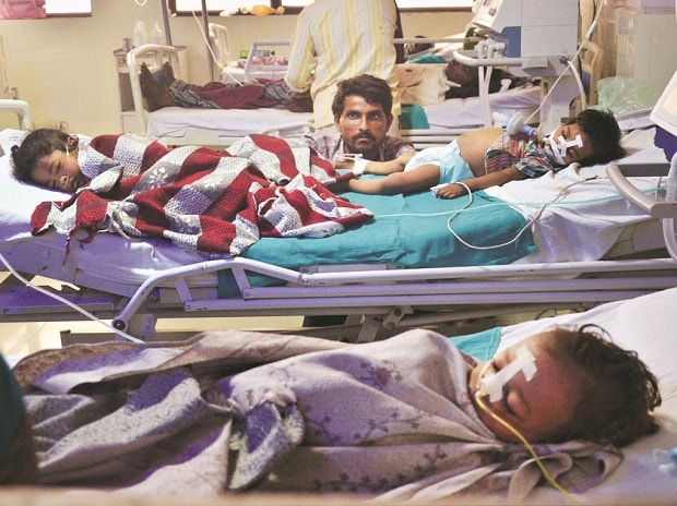 An inside view of a ward at BRD Hospital in Gorakhpur. File Photo: PTI