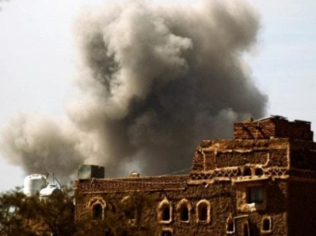Airstrike in Yemen's capital, Sanaa (Photo: Twitter)