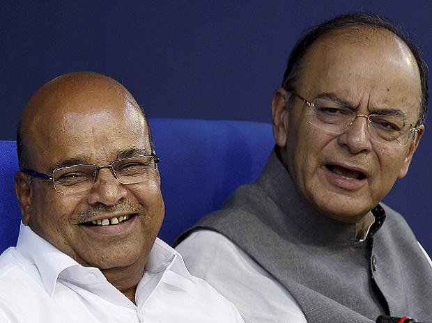 Union Finance Minister Arun Jaitley with Minister for Social Justice and Empowerment Thawar Chand Gehlot addressing a press conference after a cabinet meeting in New Delhi. (Photo: PTI)