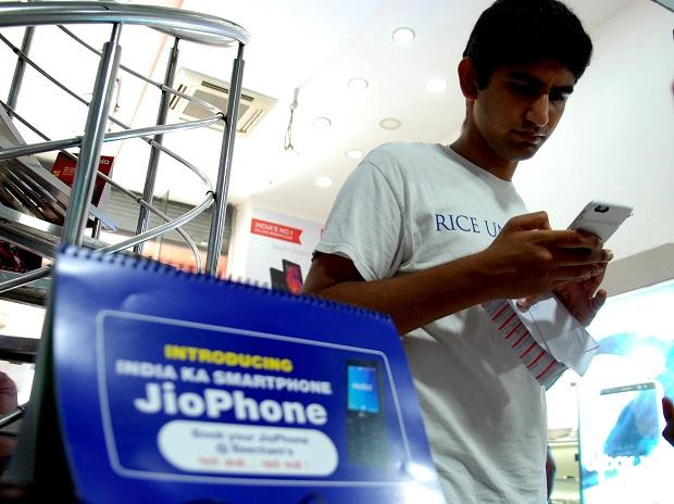 People at Reliance Digital Store for Pre Booking of Jio Smart Phone will start today in New Delhi on Thursday/PHOTO-DALIP KUMAR