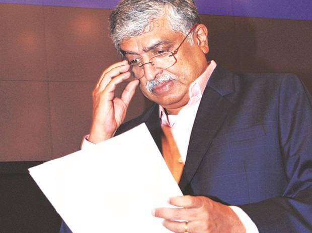 Nilekani at a press conference in Bengaluru on Friday.
