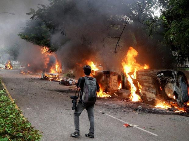 Haryana's Panchkula, adjoining Chandigarh resembled a war zone on Friday. Photo: PTI