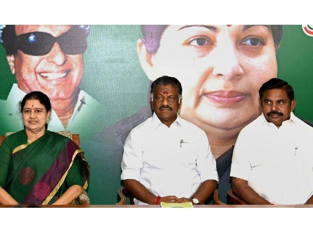 AIADMK leader V K Sasikala (left) with Tamil Nadu Chief Minister K Palaniswami (right) and O Panneerselvam | Photo: PTI