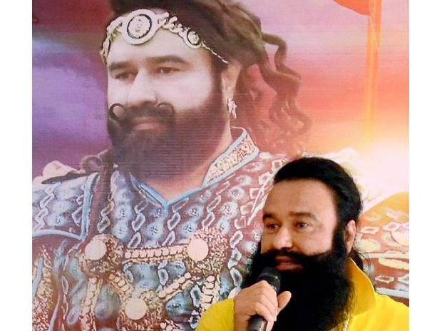 New Delhi: In this file picture Dera Sacha Sauda chief Baba Gurmeet Ram Rahim Singh addresses a press conference in Dharamsala.