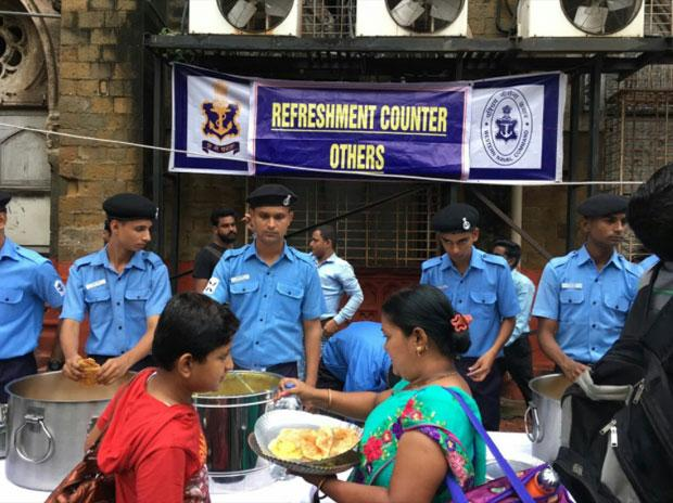Indian Navy opens food counters for rain affected people in mumbai