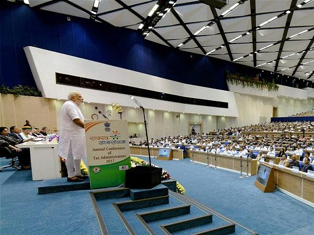 Prime Minister Narendra Modi addresses the inaugural function of the Rajasva Gyan Sangam - Annual Conference of Tax Administrators. Photo: PTI