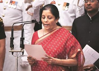 Nirmala Sitharaman takes oath as Cabinet minister in New Delhi on Sunday. She is the first woman after former prime minister Indira Gandhi to get charge of the defence portfolio. Photo: Reuters