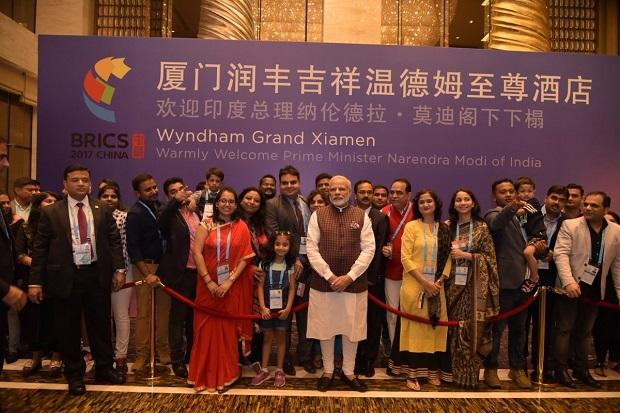 Modi with the Indian community at Xianmen