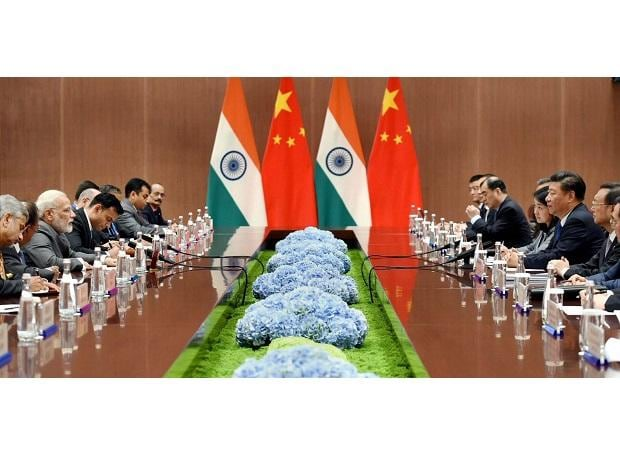 Prime Minister Narendra Modi in a bilateral meeting with the President of the People's Republic of China, Xi Jinping, on the sidelines of the 9th BRICS Summit in Xiamen. Photo: PTI