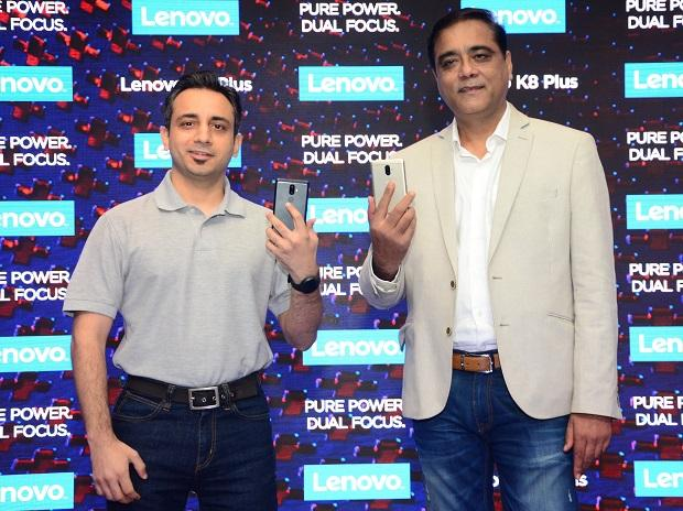 Anuj Sharma, Head of Product Marketing, , Lenovo MBG India and Sudhin Mathur, Country Head - Lenovo MBG India at the global launch of Lenovo K8 Plus
