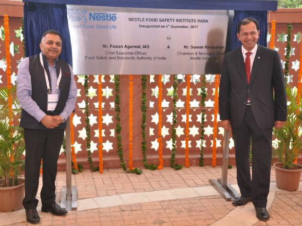 Pawan Agarwal, CEO, FSSAI, with Suresh Narayanan, CMD, Nestle India at the inauguration of the first Nestle Food Safety Institute in India