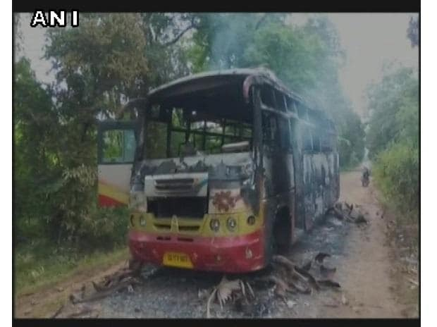 #Visuals Group of 10-15 Naxals torched a passenger bus in Bijapur's Todempara, yesterday. No passengers injured. Photo: ANI