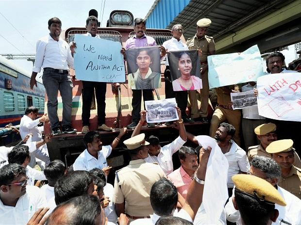 Members of Coimbatore Bar Association raise slogans during a 'Rail Roko' protest against NEET Exams and demanding justice for student Anitha's death, in Coimbatore on Friday. Photo: PTI