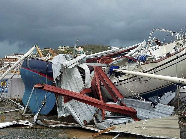 St. Thomas :  This image made from video shows damage from Hurricane Irma in St. Thomas, U.S. Virgin Islands, Thursday, Sept. 7, 2017. Hurricane Irma weakened slightly Thursday with sustained winds of 175 mph, according to the National Hurricane Cent