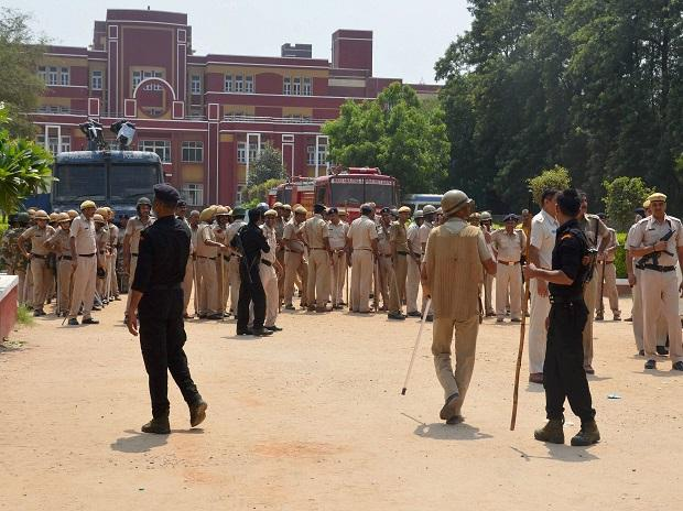 Tight security arrangements outside the Ryan International School in the view of protests in Gurugram on Sunday, two days after a 7-year-old class II student of the school was brutally murdered. (File Photo: PTI)