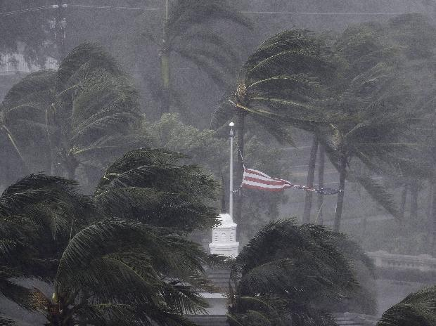 An American flag is torn as Hurricane Irma passes through Naples, Florida.